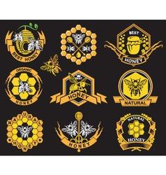 Set of honey labels vector