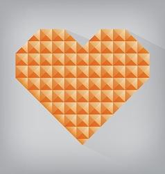 Orange retro heart triangle abstract love vector