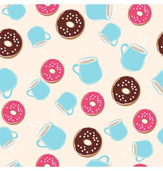 Hot chocolate and ring donuts seamless pattern vector