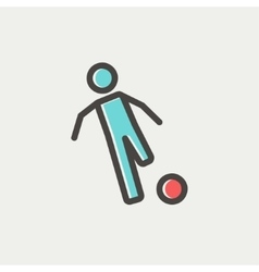 Soccer player to kick the ball thin line icon vector