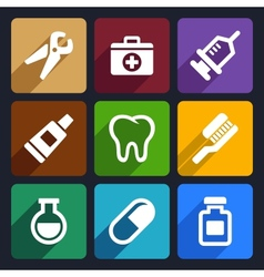 Dental flat icons set 9 vector