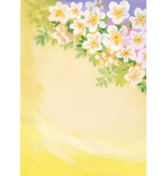 Watercolor cherry blossom with copyspace vector