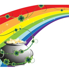 Rainbow and pot with gold vector