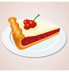 Piece of cherry pie vector