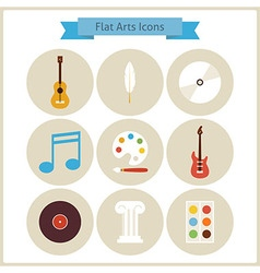 Flat school arts and music icons set vector