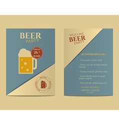 Beer party flyer invitation template with glass of vector