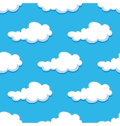 Seamless background with cute cartoon clouds vector