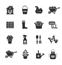 Gardening black icons set vector