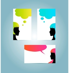 Speech bubble business card templates vector