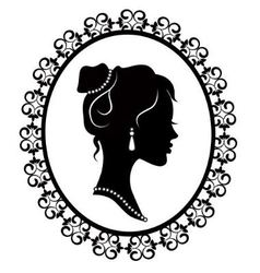 Retro silhouette profile of a young girl vector
