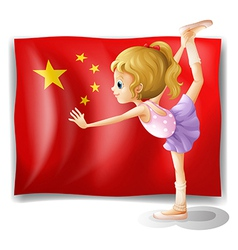 A gymnast in front of the chinese flag vector
