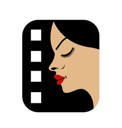 Filmstrip with side view of a woman vector