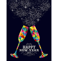New year 2015 color glass greeting card vector
