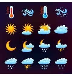 Weather icon set black vector