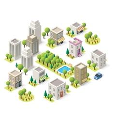 Isometric city buildings set vector