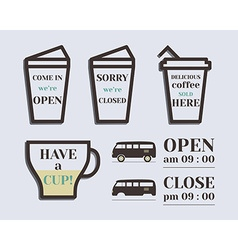 Coffee signs open and closed elements rv park and vector