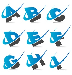 Swoosh alphabet logo set 1 vector