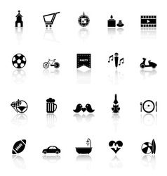 Friday and weekend icons with reflect on white vector