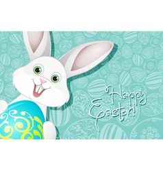 Easter holiday background with egg and rabbit vector