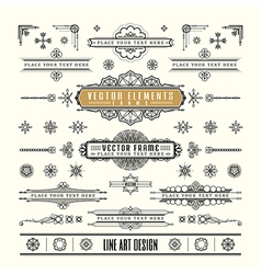 Linear line art deco retro vintage design frame vector
