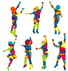 Happy children silhouettes patterned colorful vector