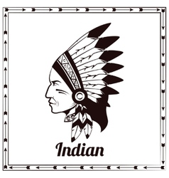 American indian chieftain black sketch vector