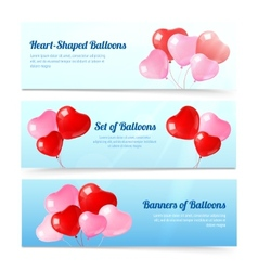 Colorful balloons horizontal banners set vector