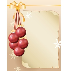 Greeting card with old sheet of paper and red vector