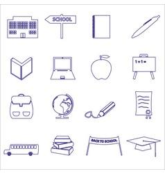 Simple blue outline school icons set eps10 vector