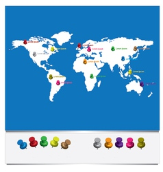 World map with pins vector