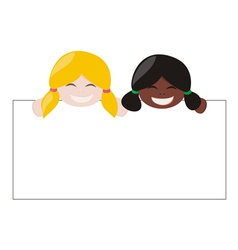 Multicultural girls holding white empty banner vector