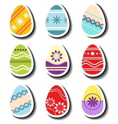 Abstract easter egg sticker set vector