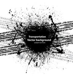 Black grunge ink blots tire track vector