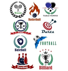 Set of sports tournament emblems and badges vector