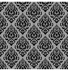 Vintage black lace floral pattern on white vector