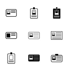 Id card icon set vector