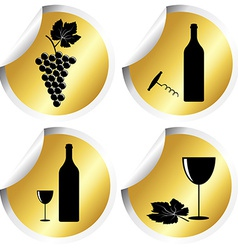 Wine icons on golden round stickers with curved vector
