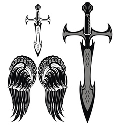 Set of swords and wings vector