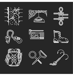 White line icons for rock climbing outfit vector