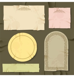 Vintage and retro old paper different objects vector