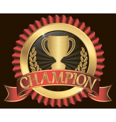 Champion cup sign with red ribbon vector