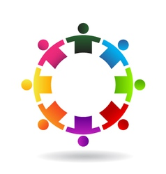 Teamwork in circle 8 logo vector