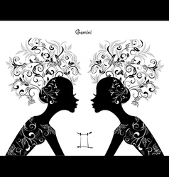Zodiac sign gemini fashion girl vector