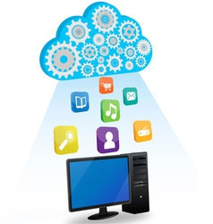 Desktop cloud computing vector