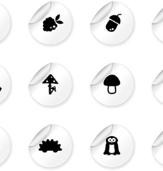 Stickers with woodland icons vector
