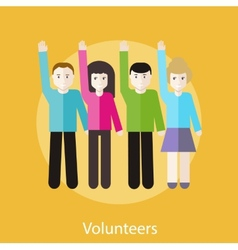 Volunteer group raising hands vector
