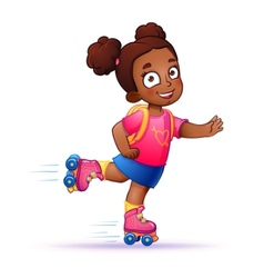 Little girl dark skin rides on roller skates teen vector