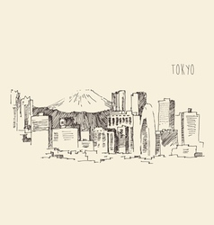 Japan tokyo city architecture vintage engraved vector