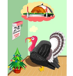 Turkey before christmas vector