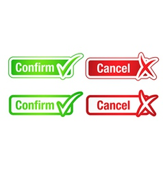 Confirm cancel buttons with checkmarks vector